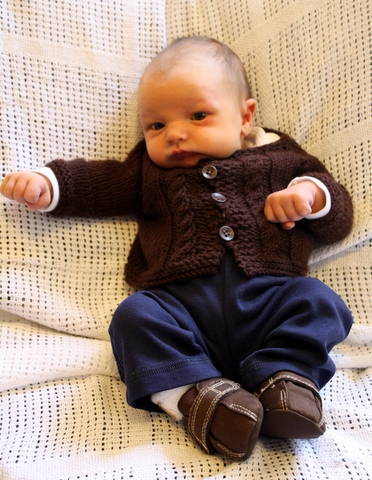 Emmett in His Coming Home Cardigan